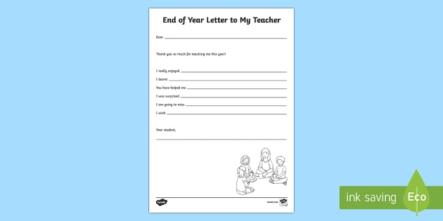 End of Year Letter to My Teacher Activity Sheet - End of Year,Back to School, Australia,end of year,letter,letter writing,teacher, worksheet, Australi