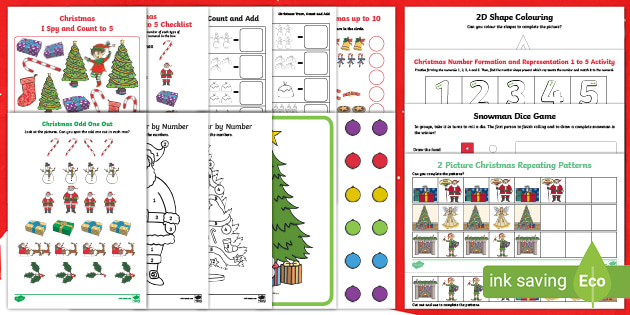 Christmas Counting Games Eyfs Math Activity Pack