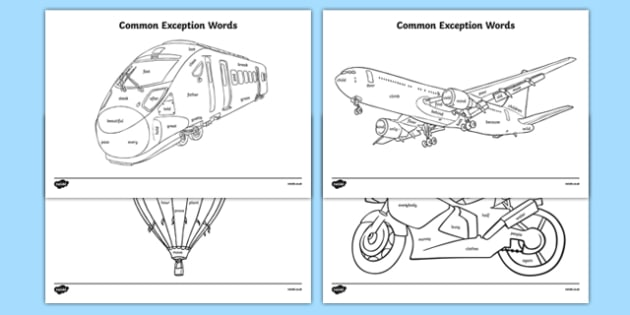 Year 2 Common Exception Words Colouring Transport-Themed - Letters, sounds, letters and sounds, Tricky Words, tricky words, phase, phonics, dfes, resources, keywords, flashcards, Early Years (EYFS), KS1 & KS2 Primary Teaching Resources
