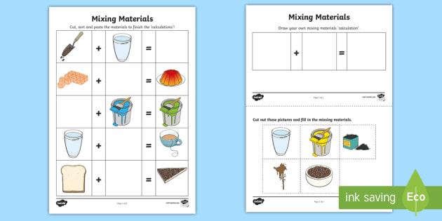 mixing materials worksheet worksheet acssu031 combing materials science. Black Bedroom Furniture Sets. Home Design Ideas