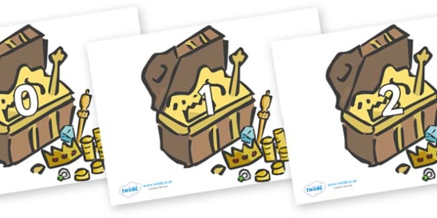 Numbers 0-50 on Treasure Chests - 0-50, foundation stage numeracy, Number recognition, Number flashcards, counting, number frieze, Display numbers, number posters
