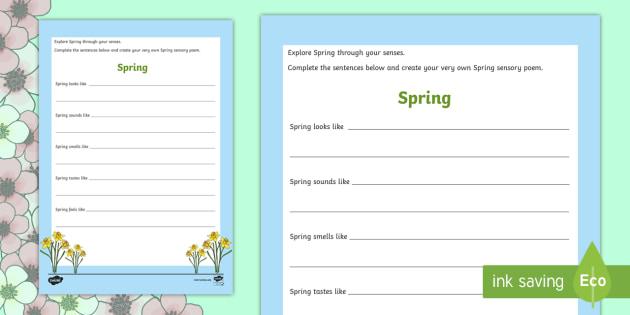 spring sensory poem worksheet activity sheet easter spring