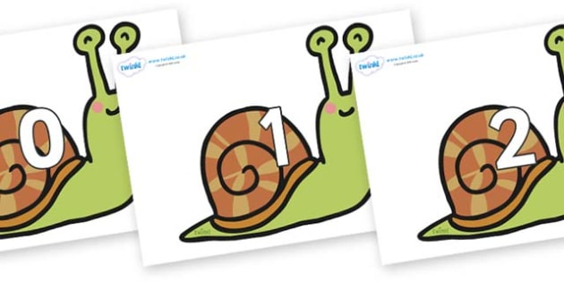 Numbers 0-31 on Snails - 0-31, foundation stage numeracy, Number recognition, Number flashcards, counting, number frieze, Display numbers, number posters