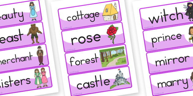 The Beauty and the Beast Word Cards - australia, word, cards