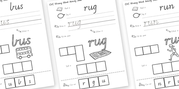 CVC Writing Word Worksheet / Activity Sheets U - CVC, literacy, english , worksheet