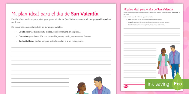 My ideal plan for Valentine's Day Writing Worksheet / Activity Sheet Spanish - Valentine's Day, 14th February, conditional, ideal, date, open writing, activity, sheet, bulletpoin