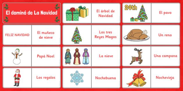 El domino de Navidad Spanish - spanish, El domino de Navidad, Christmas, Navidad, dominoes, domino, game, juego, festivals