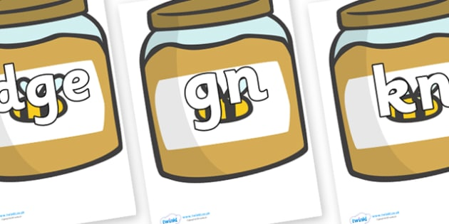 Silent Letters on Honey Jars - Silent Letters, silent letter, letter blend, consonant, consonants, digraph, trigraph, A-Z letters, literacy, alphabet, letters, alternative sounds