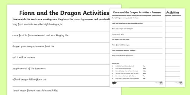 Fionn and the Dragon Literacy Activities Sheet - Irish history, Irish story, Irish myth, Irish legends, Fionn and the Dragon, literacy, english