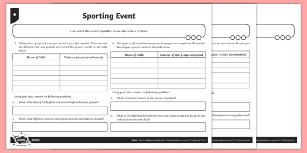 Collecting Data Problem Solving Worksheet / Activity Sheet - Addition and Subtraction, Solve, total, more, minus, plus, decrease, increase, sum, difference betwe