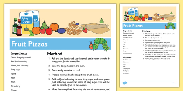 Fruit Pizzas Recipe to Support Teaching on The Very Hungry Caterpillar - Cooking, baking, EYFS, eric carle, caterpillars, minibeasts, food, sensory