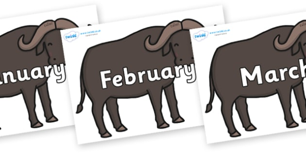Months of the Year on Buffalos - Months of the Year, Months poster, Months display, display, poster, frieze, Months, month, January, February, March, April, May, June, July, August, September