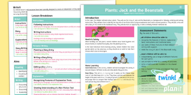 Plants: Jack and the Beanstalk Y3 Overview - Traditional stories, life processes, living things, explanation texts, seed