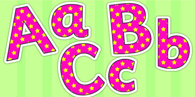 Pink and Yellow Stars Small Lowercase Display Lettering - stars