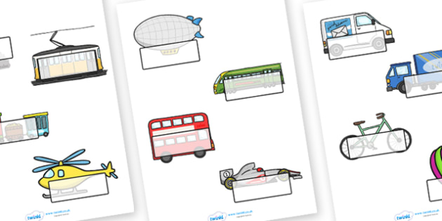 Editable Self Registration Labels (Transport) - Self registration, register, transport, editable, labels, registration, child name label, printable labels, car, van, lorry, bike, motorbike, plane, aeroplane, tractor, truck, bus