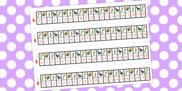The Ant and the Grasshopper Number Track 1-20 - numbers, numeracy