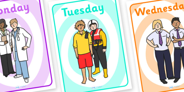 People Who Help Us Days of the Week Posters - people who help us, people who help us days of the week, people who help us posters, people who help us days