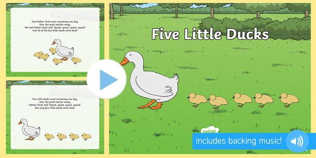 Five Little Ducks PowerPoint - five little ducks, nursery rhymes, nursery rhyme powerpoint, five little ducks nursery rhyme powerpoint, rhyme, song