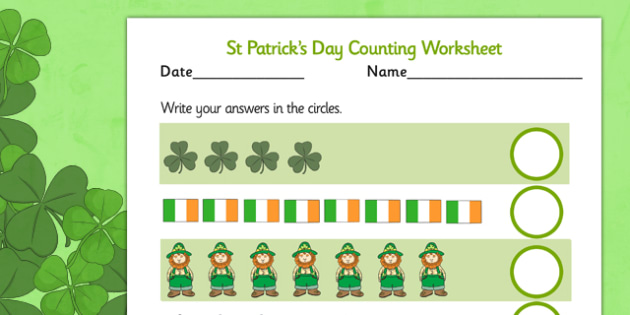 St Patricks Day Counting Sheet - counting, sheet, st patrick