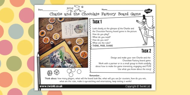 Free Board Game Designing Activity To Support Teaching On Charlie And The