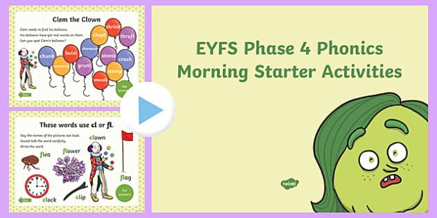 Phase 4 Phonics Morning Starter Activities PowerPoint