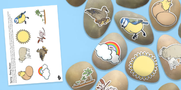 Spring Story Stone Image Cut Outs - Story stones, stone art, painted rocks, storytelling, seasons, weather, year