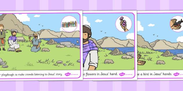 The Flowers of the Field Playdough Mats - parable, playdough