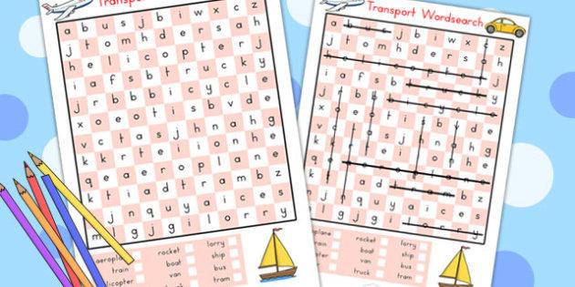 Transport Wordsearch - transport, wordsearch, word game, literacy