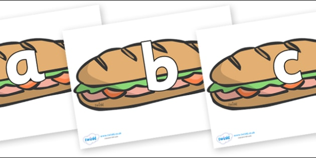 Phoneme Set on Sandwiches - Phoneme set, phonemes, phoneme, Letters and Sounds, DfES, display, Phase 1, Phase 2, Phase 3, Phase 5, Foundation, Literacy