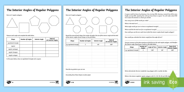 Interior Angles Of Regular Polygons Differentiated Worksheet