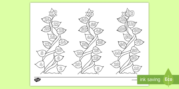 Brilliant 2 5 And 10 Times Tables On Beanstalks Colouring Page Beutiful Home Inspiration Ommitmahrainfo