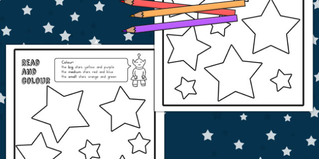 Stars Read and Colour Worksheets - australia, stars, colour, read