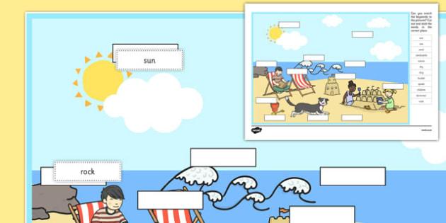 At The Seaside Keyword Matching Activity - matching, language development, keywords, expressive skills, first words