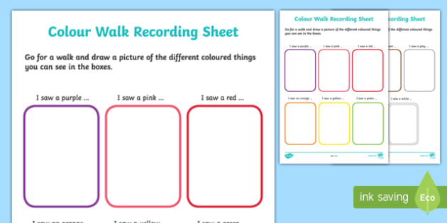Colour Walk Recording Sheet