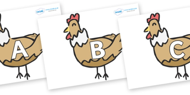 A-Z Alphabet on French Hens - A-Z, A4, display, Alphabet frieze, Display letters, Letter posters, A-Z letters, Alphabet flashcards
