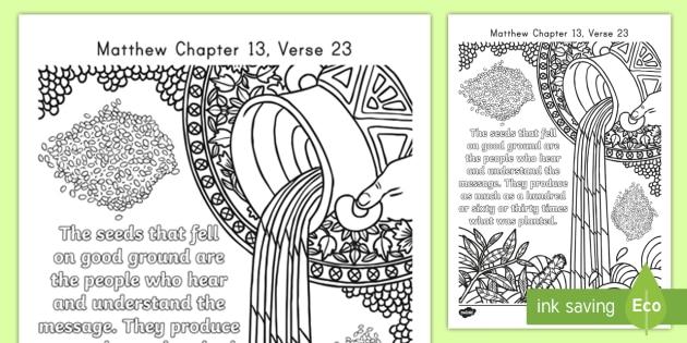 Matthew 13 23 Mindfulness Coloring Page Bible Jesus