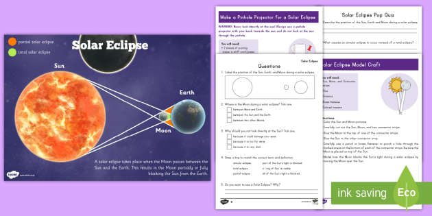 Grade 3-5 Solar Eclipse Activity Pack - solar eclipse, solar eclipse 2017, earth science, earth moon and sun, solar and lunar eclipse