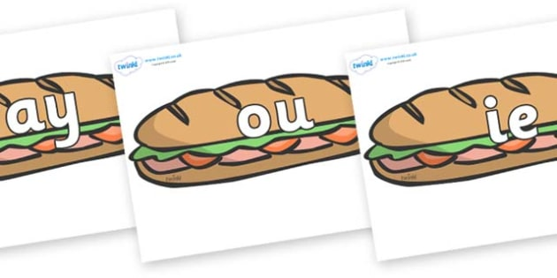 Phase 5 Phonemes on Sandwiches - Phonemes, phoneme, Phase 5, Phase five, Foundation, Literacy, Letters and Sounds, DfES, display