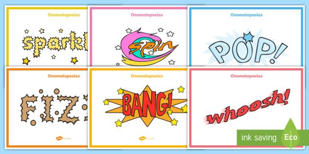Onomatopoeia Display Posters - onomatopoeia, display, poster, sign, KS2, grammar, buzz, bang, pop, snip, type, words