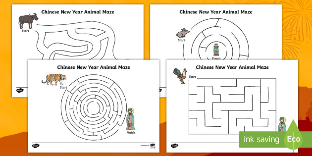 chinese new year animal maze worksheet activity sheet pack. Black Bedroom Furniture Sets. Home Design Ideas
