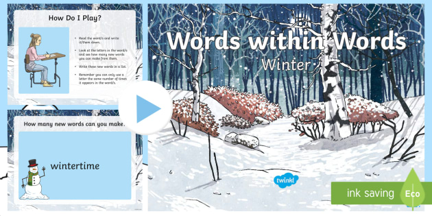 words within words game winter powerpoint seasons quick