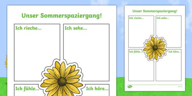Our Summer Nature Walk Writing Worksheet / Activity Sheet German , worksheet
