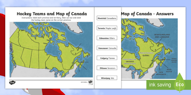 Map Of Canada Grade 6.Hockey Teams And Map Of Canada Activity Geography Map