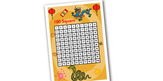 Australia Chinese New Year 100 Number Square Themed - chinese new year number square, times tables, number sequences