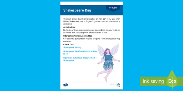 Shakespeare Day Adult Guidance - Calendar Planning April 2017, Activity Coordinators, Support, Planning, Elderly Care, Care Homes, Sh