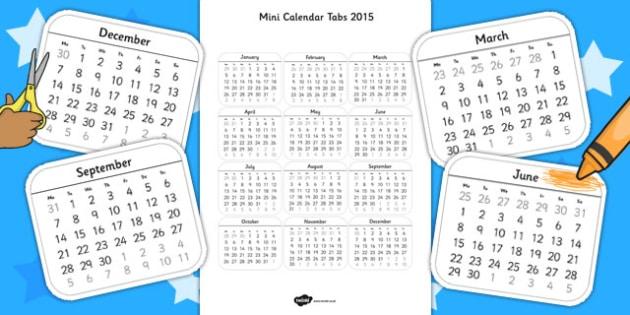 Mini Calendar Tabs 2015 - calendar, tabs, 2015, mini, craft