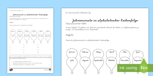 Jahresmonate alphabetisch ordnen Arbeitsblatt - Monat, Monate