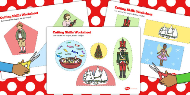 The Nutcracker Cutting Skills Worksheet - nutcracker, cutting