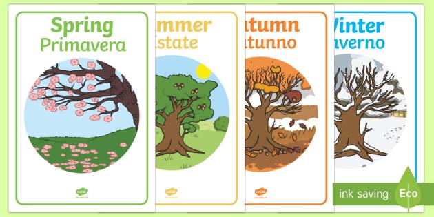Four Seasons Posters A4 English/Italian - Four Seasons Display Posters - Seasons, season, autumn, winter, spring, summer, fall, seasons activi