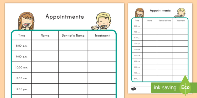 dentist dramatic play appointment form dentist role play